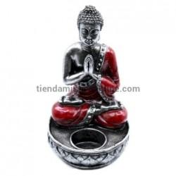 Portavelas Buda Rezando Rojo