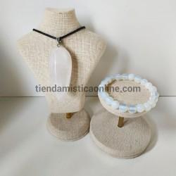Conjunto Cuarzo Blanco Pulsera y Colgante