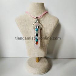 Colgante Cuarzo Rosa 7 Chakras